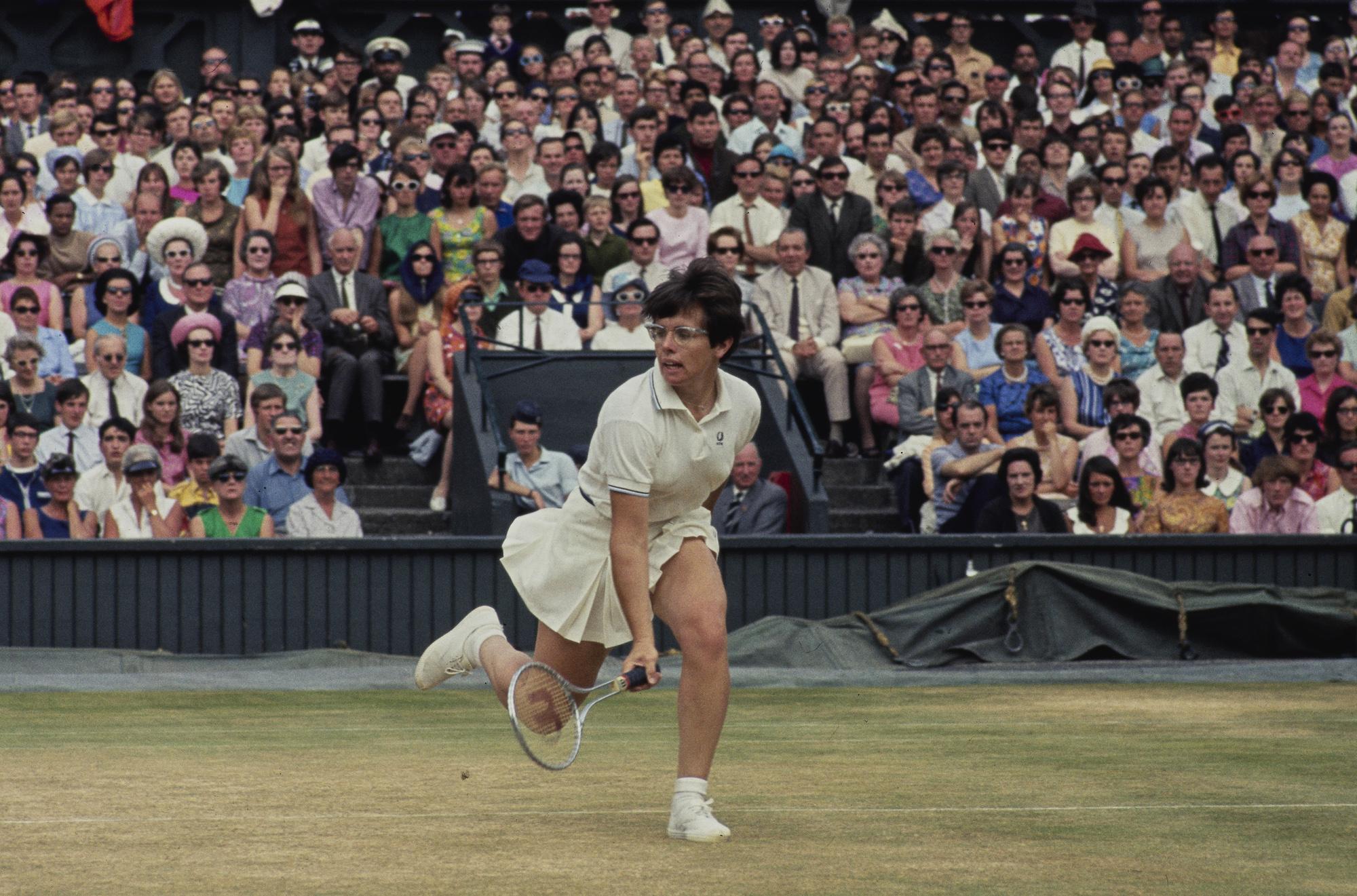 Billie Jean King at Wimbledon in July 1968