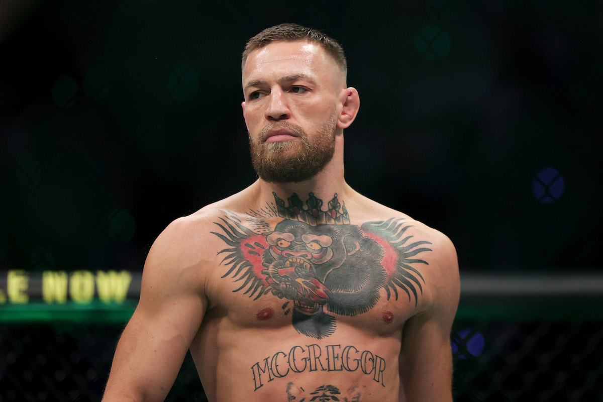 Conor McGregor stands in the octagon before his UFC lightweight bought against Dustin Poirier in July 2021 in Las Vegas
