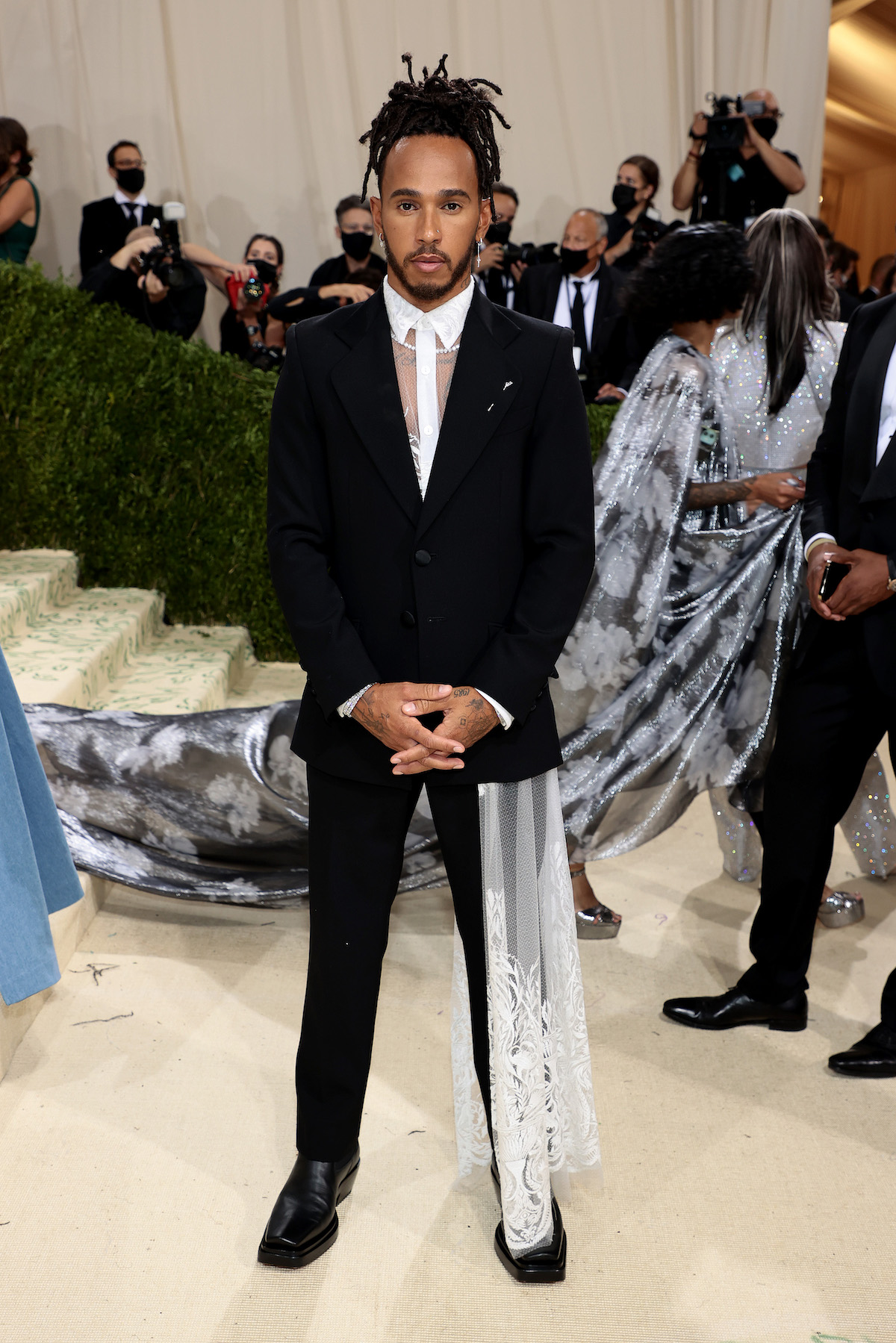 Lewis Hamilton at the 2021 Met Gala, just one of many sports stars there