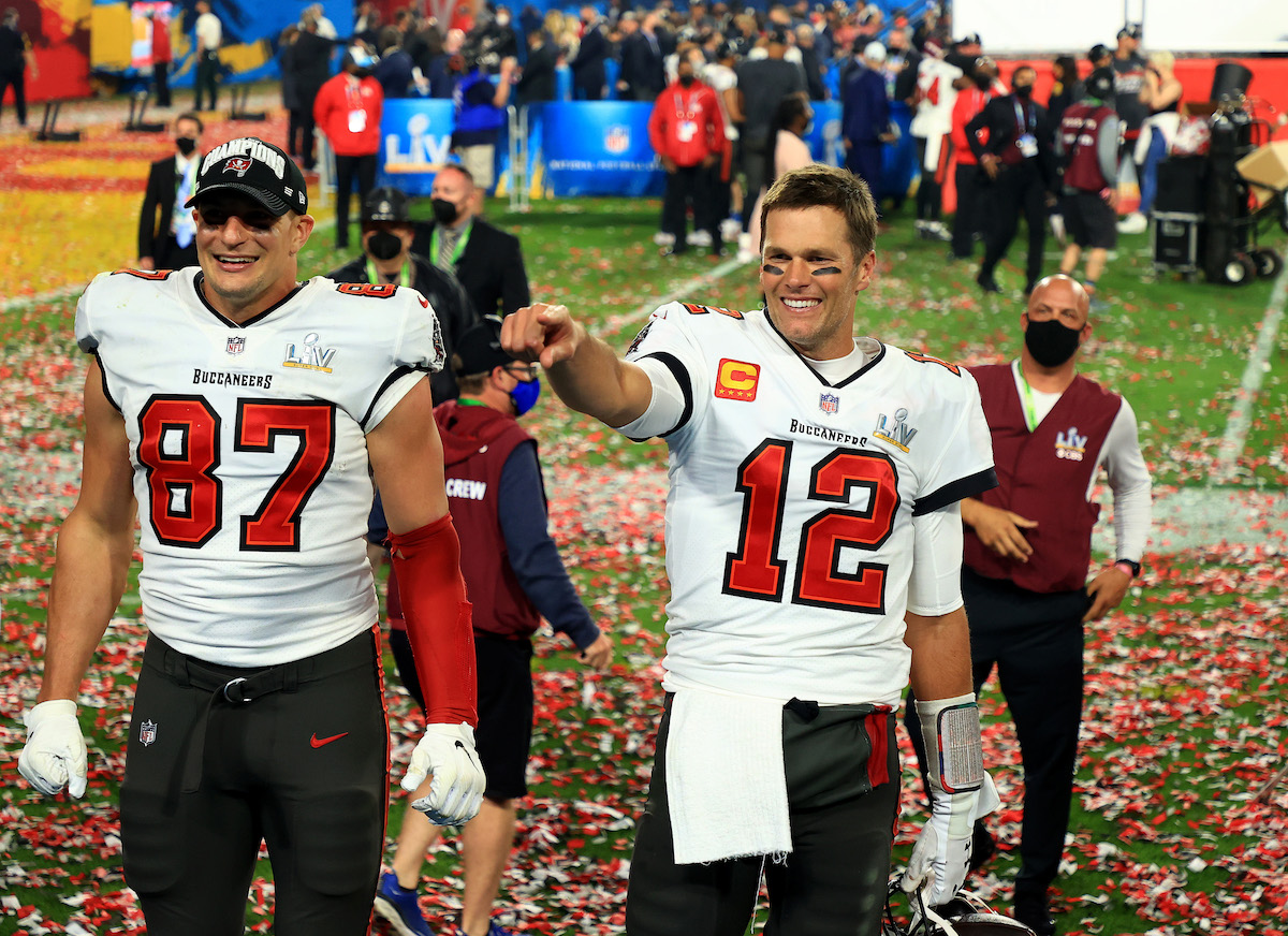 Rob Gronkowski #87 and Tom Brady #12 of the Tampa Bay Buccaneers