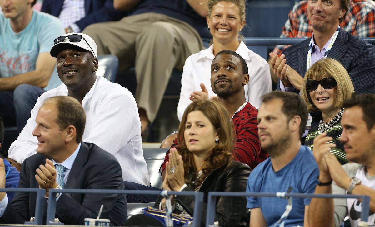 Michael Jordan and son Jeffrey Jordan (center) attend the 2014 U.S. Open