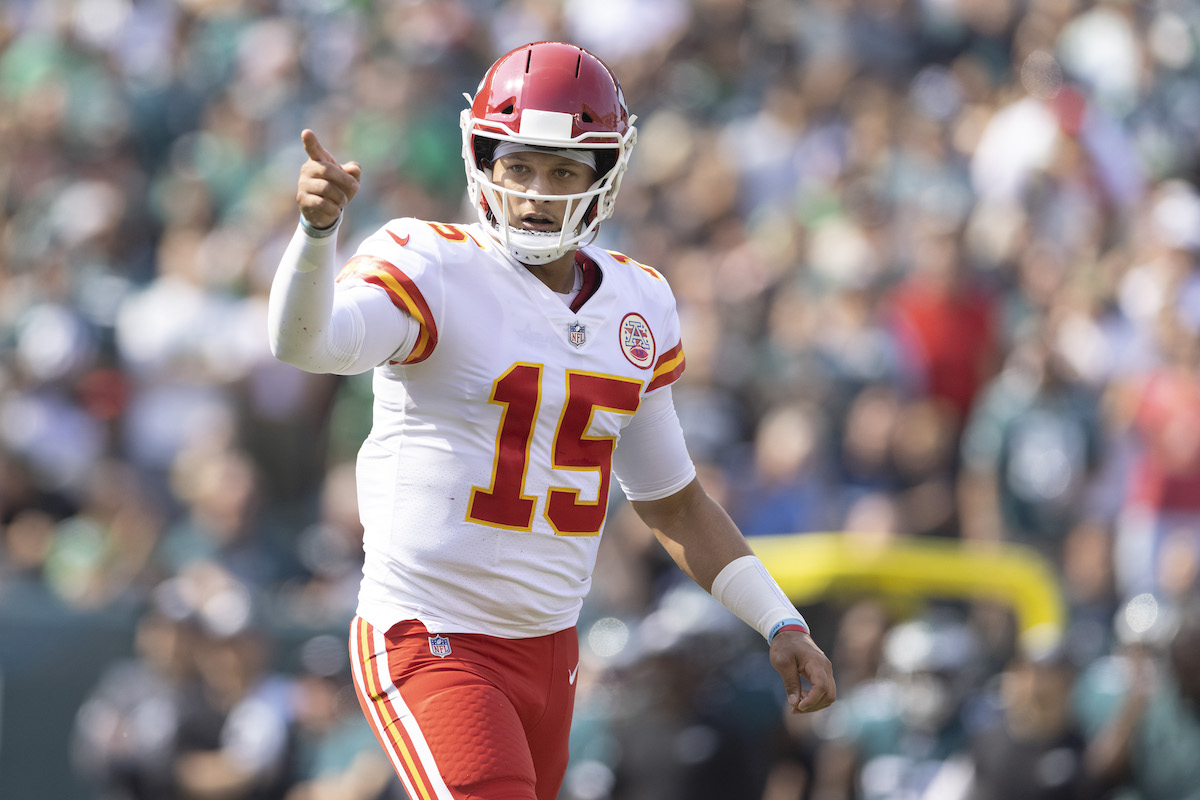 Patrick Mahomes, #15 of the Kansas City Chiefs, points against the Philadelphia Eagles at Lincoln Financial Field on October 3, 2021, in Philadelphia